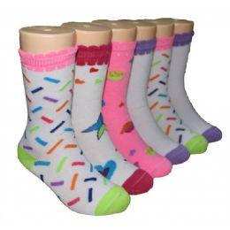 480 Bulk Girls Assorted Print Crew Socks