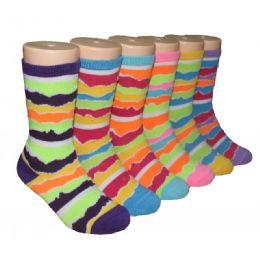 480 Bulk Girls Colorful Waves Print Crew Socks
