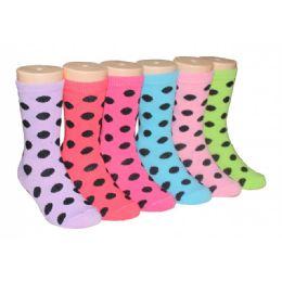 480 Bulk Girls Polka Dot Crew Socks