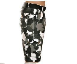 12 Bulk Men's Fashion Cargo Camo Shorts Camouflage Black Only