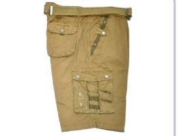 12 Bulk Men's Cargo Shorts In Olive Color