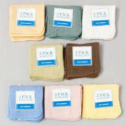 72 Bulk Wash Cloths 3 Pack 11 X 11 Assorted Colors -