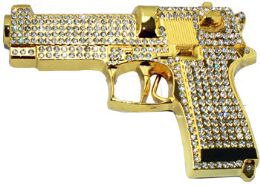 12 Bulk Golden Rhinestone Gun Belt Buckle