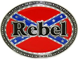 24 Bulk Rebel Flag Belt Buckle