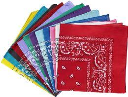 60 Bulk Assorted Cotton Bandana Mixed Prints, Mixed Colors Bulk Paisley Bandannas