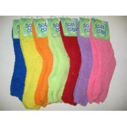 144 Bulk Women's Fuzzy Slipper Socks
