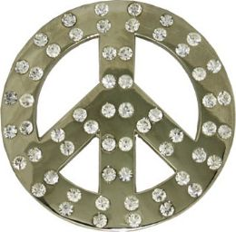 24 Bulk Rhinestone Peace Sign Belt Buckle