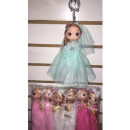 72 Bulk Keychain With Doll In Beautiful Outfits