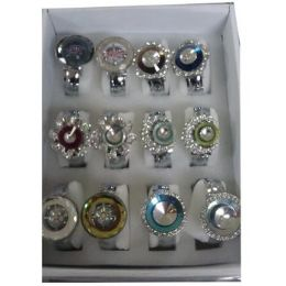 36 Bulk Women's Assorted Bangle Watches With Stones