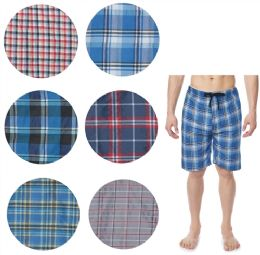 36 Bulk Men's Cotton Pajama Bottoms Shorts In Assorted Plaid Patterns
