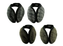 48 Bulk Earmuffs With A Band That Goes Behind The Head With A Small Plaid Print In Assorted Colors