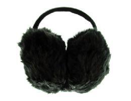 24 Bulk Black Furry Earmuffs With Band That Goes Behind The Head
