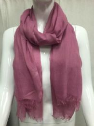 36 Bulk Ladies Summer Fashion Scarf Pink Solid Color