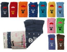 48 Bulk Assorted Colored Capri Tights With Skull And Heart Designs