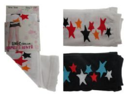 48 Bulk Black And White Capri Tights With Star Designs.