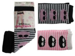 48 Bulk Black, Pink And White Capri Tights With Skull And Stripes Designs.