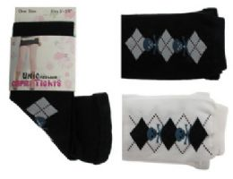 48 Bulk Black And White Capri Tights With Blue Skull And Argyle Designs.