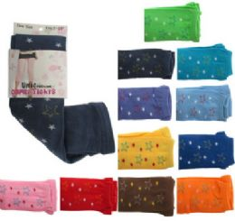 48 Bulk Assorted Colored Capri Tights With Star Designs.