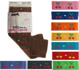 48 Bulk Assorted Colored Capri Tights With Cherry Designs.