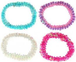 72 Bulk Assorted Color Beaded Scrunchies