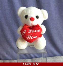 "60 Bulk 5.5"" White Bear With Red Heart"