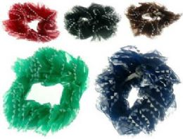 72 Bulk Assorted Color Nylon Scrunchies With Triangle Pattern