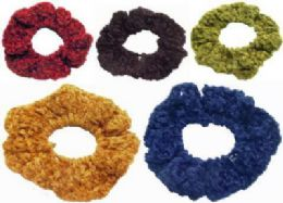 72 Bulk Assorted Color Crochet Look Scrunchies