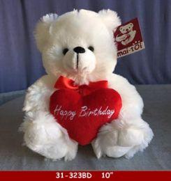 "24 Bulk 10"" Sitting White Bear With Happy Birthday Sign"