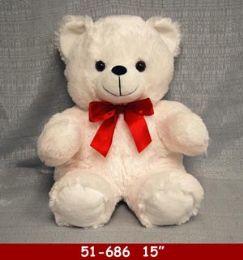 "12 Bulk 15"" White Soft Plush Bear With Red Ribbon"