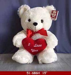 "12 Bulk 15"" White Soft Plush Bear With Red Heart"