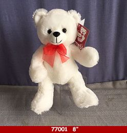 "24 Bulk 8"" Soft Plush White Bear With Red Ribbon"