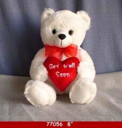 "24 Bulk 8"" White Plush Get Well Soon Bear"