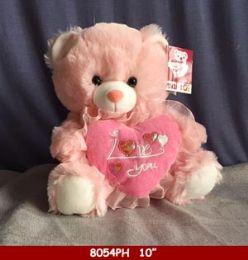 "12 Bulk 10"" Soft Plush Pink Bear With Heart"