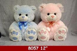 "12 Bulk 12"" Big Feet Plush Bears In Pink And Blue"