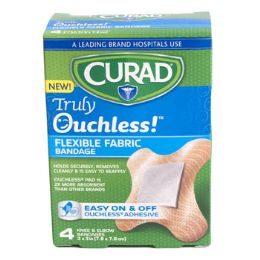 48 Bulk Bandages Curad 4ct Ouchless Knee & Elbow Silicone