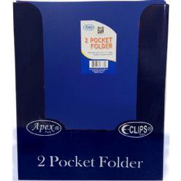 "48 Bulk Navy Plastic 2 Pocket Folders - 9.5"" X 11.5"""