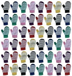 36 Bulk Yacht & Smith Kids Striped Mitten With Stretch Cuff Ages 2-8