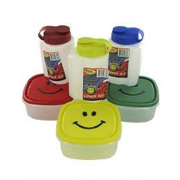 72 Bulk 16oz Bottle W/ Lid & 5x5'' Happy Face Plastic Container