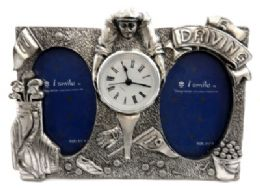10 Bulk Dual Picture Frame Made Of Pewter With Assorted Golf Designs And A Clock In The Center