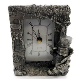 10 Bulk Pewter Framed Clock With A Cat As A Soldier