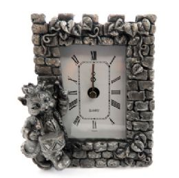 10 Bulk Pewter Framed Clock With A Cat As A Drummer