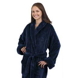 4 Bulk Tahoe Fleece Shawl Collar Robe In Navy Blue