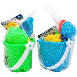 "72 Bulk 3"" Beach Toy Bucket W/acss In Pegable Net Bag, 2 Assrt"