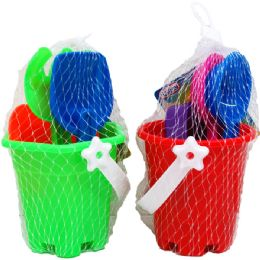 "72 Bulk 3.5"" Beach Toy Bucket W/acss In Pegable Net Bag, 4 Assrt"