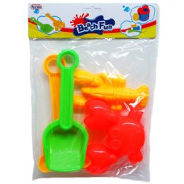 36 Bulk Beach Toys Set In Poly Bag With Header