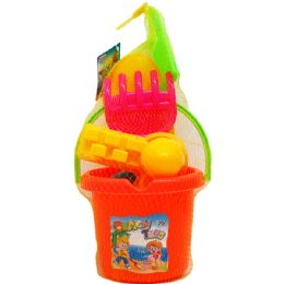 12 Bulk Beach Toy Bucket With Accesories