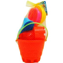 "12 Bulk 6"" Beach Toy Bucket W/acss In Pegable Net Bag, 2 Assrt"