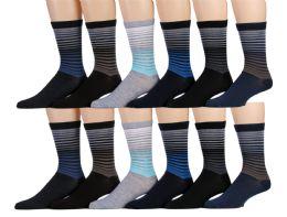 120 Bulk Mens Striped Fashion Dress Socks, Cotton Size 10-13