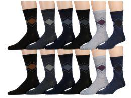 120 Bulk Mens Argyle Fashion Dress Socks, Cotton Size 10-13