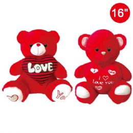 12 Bulk Sixteen Inch Red Bear With Heart